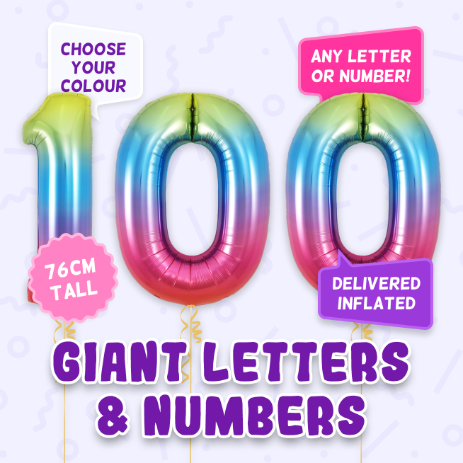 A 76cm tall 100th Birthday, Letters & Numbers balloon example