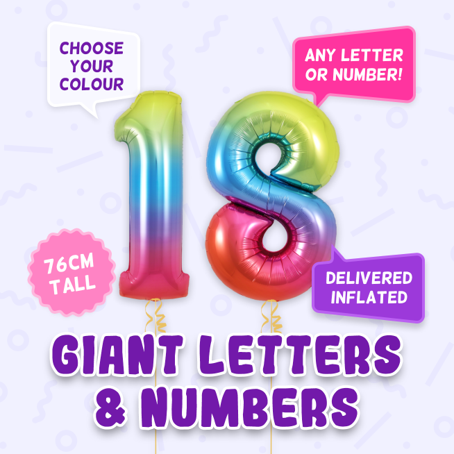 A 76cm tall 18th Birthday, Letters & Numbers balloon example