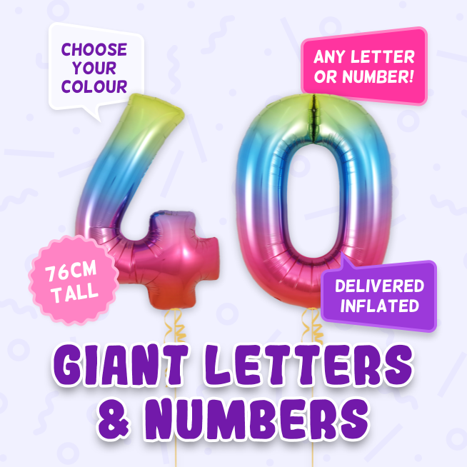 A 76cm tall 40th Birthday, Letters & Numbers balloon example