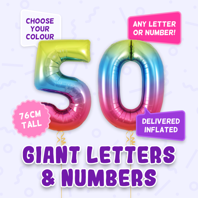 A 76cm tall 50th Birthday, Letters & Numbers balloon example
