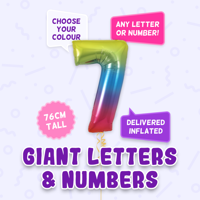 A 76cm tall 7th Birthday, Letters & Numbers balloon example