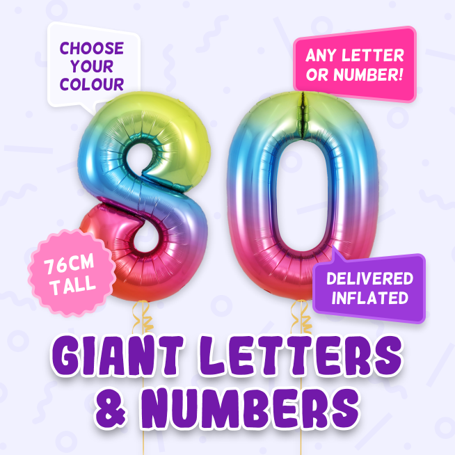 A 76cm tall 80th Birthday, Letters & Numbers balloon example